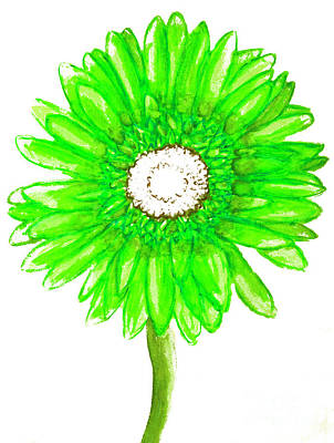 Painting - Green Gerbera On White by Irina Afonskaya
