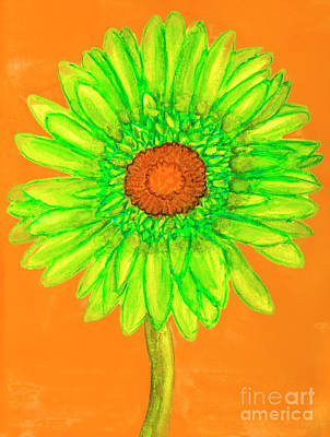 Painting - Green Gerbera, Painting by Irina Afonskaya
