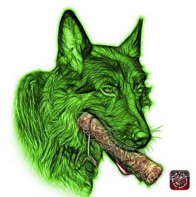 Painting - Green German Shepard And Toy - 0745 F by James Ahn