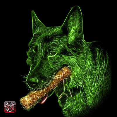 Digital Art - Green German Shepherd And Toy - 0745 F by James Ahn