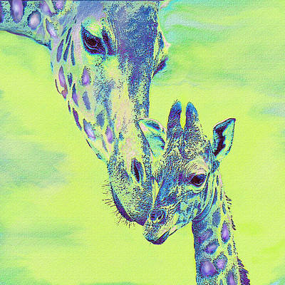 Digital Art - Green Giraffes by Jane Schnetlage