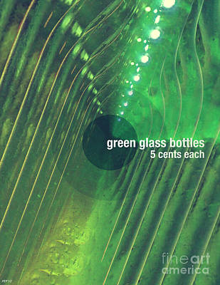 Print featuring the photograph Green Glass Bottles by Phil Perkins