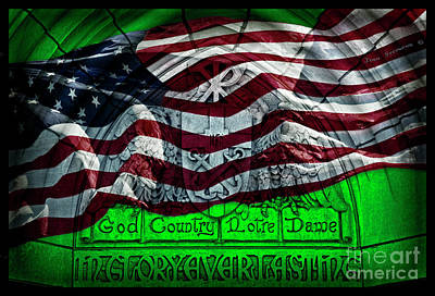 Photograph - Green God Country Notre Dame Red White Blue American Flag by John Stephens
