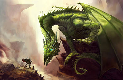 Painting - Green God Dragon by Anthony Christou