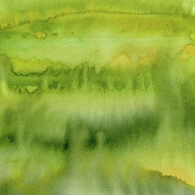 Painting - Green Gold Forest Abstract Watercolor by Olga Shvartsur