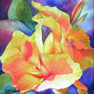 Canna Painting - Green Gold by H S Craig
