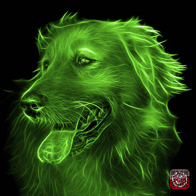 Retriever Digital Art - Green Golden Retriever - 4057 Bb by James Ahn