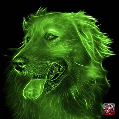 Digital Art - Green Golden Retriever - 4057 Bb by James Ahn