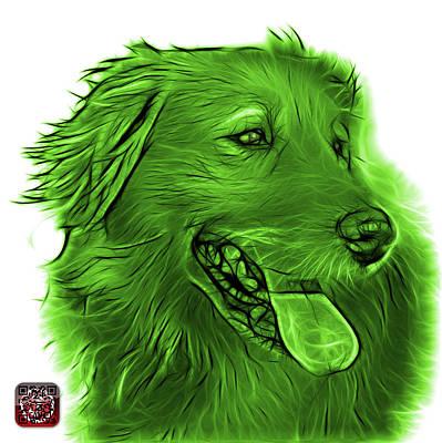 Digital Art - Green Golden Retriever - 4057 Wb by James Ahn