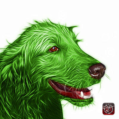 Painting - Green Golden Retriever Dog Art- 5421 - Wb by James Ahn