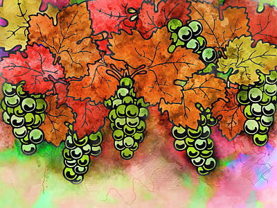 Green Grapes On The Vine - Vintage Wine Harvest - 2 In A Series Art Print