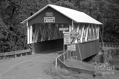 Photograph - Green Grass At The St Mary Covered Bridge Black And White by Adam Jewell