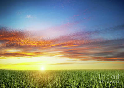 Photograph - Green Grass Field Under Colorful Sunset Sky. by Michal Bednarek