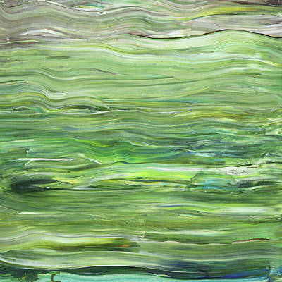 Painting - Green Gray Organic Abstract Art For Interior Decor I by Irina Sztukowski
