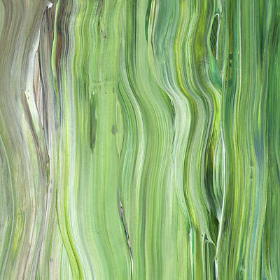Painting - Green Gray Organic Abstract Art For Interior Decor II by Irina Sztukowski