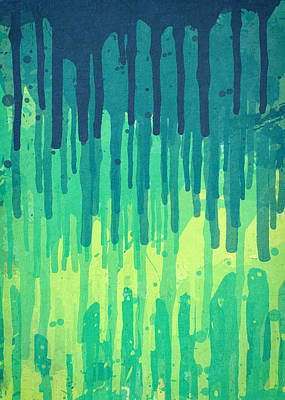 Drippy Digital Art - Green Grunge Color Splatter Graffiti Backstreet Wall Background by Philipp Rietz