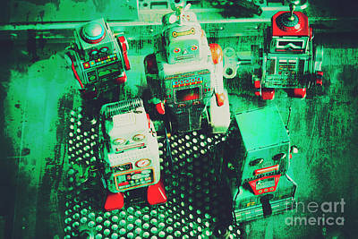 Green Grunge Comic Robots Art Print