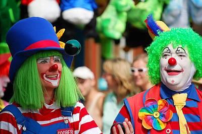 Green Haired Juggling Clowns Art Print by Bob Cuthbert