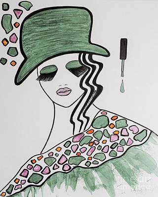 Green Hat Art Print