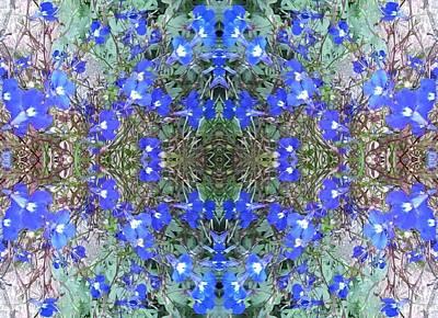 Photograph - Green Heart Fractal Centre From Blue Bush Flower Photo by Julia Woodman