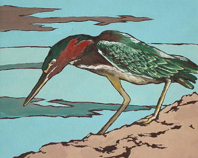 Bird Painting - Green Heron by Sandy Tracey
