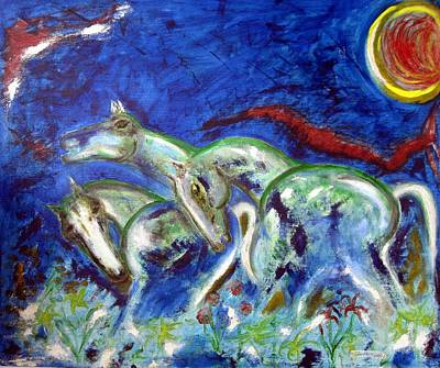 Green Horses Art Print by Narayanan Ramachandran