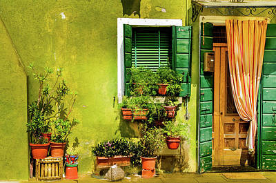Stuco Photograph - Green House Burano Italy by Xavier Cardell