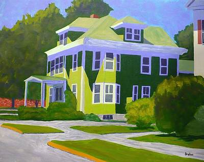 Maine Landscapes Painting - Green House Mid-day by Laurie Breton