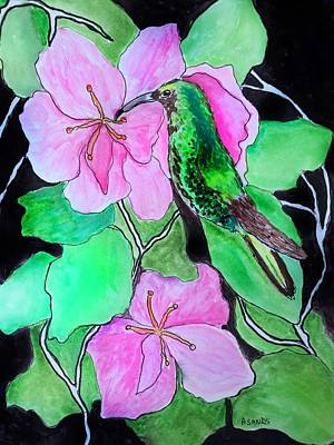 Painting - Green Hummingbird by Anne Sands