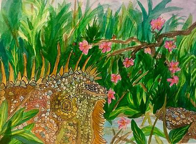 Painting - Green Iguanas  by Ellen Levinson