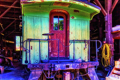 Of Painted Door Photograph - Green Immigrant Passenger Car by Garry Gay