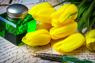 Green Ink Well And Yellow Tulips Art Print by Garry Gay
