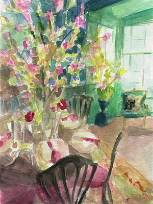 Cherry Blossoms Painting - Green Interior With Cherry Blossoms by Beverly Brown