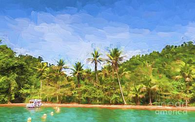 Digital Art - Green Island by Pravine Chester
