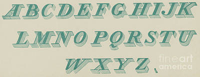 Green Italic Font Art Print by English School