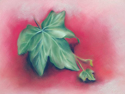 Pastel - Green Ivy Leaves On Red by MM Anderson
