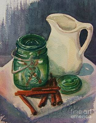 Pitcher Painting - Green Jar by Marilyn Smith