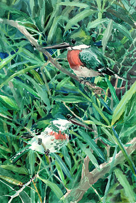 Kingfisher Painting - Green Kingfishers In The Grass by Suren Nersisyan