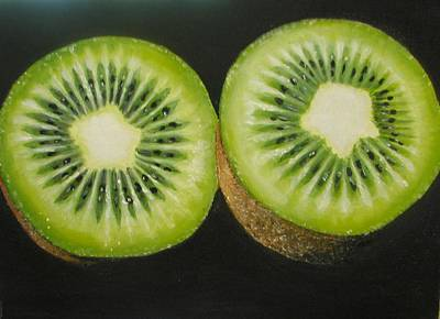 Green Kiwi Oil Painting  Original by Natalja Picugina