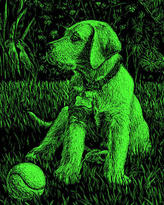 Painting - Green Labrador Puppy Dog by Irina Sztukowski