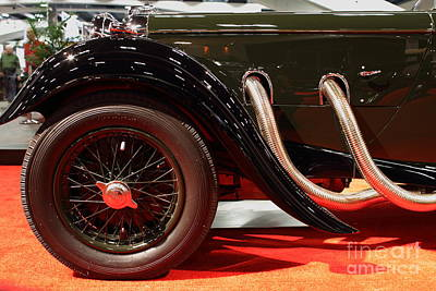 Green Lagonda Classic Car Front Side View Print by Wingsdomain Art and Photography