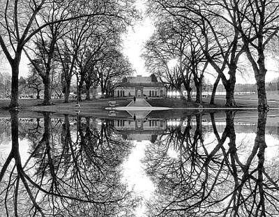 Green Lake Bathhouse Black And White Reflection Art Print by Pelo Blanco Photo