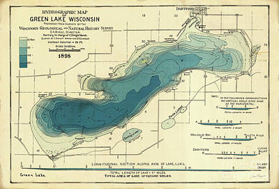 Green Lake Map-1898 Art Print