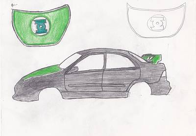 Green Lantern Drawing - Green Lantern Car by Valhalla Warrior Photography