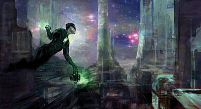 Green Digital Art - Green Lantern by Super Lovely