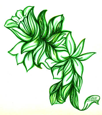 Green Leaves Art Print by Judith Herbert