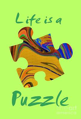 Green Life Is A Puzzle Print by The one eyed Raven
