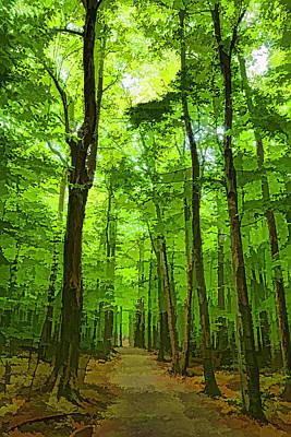 Pathway Digital Art - Green Light Harmony - Walking Through The Summer Forest by Georgia Mizuleva