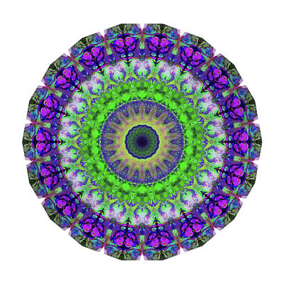 Green Light Mandala Art By Sharon Cummings Art Print by Sharon Cummings