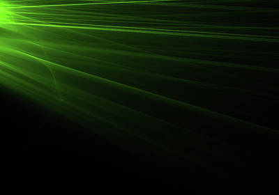 Green Light Rays Coming From The Left Art Print